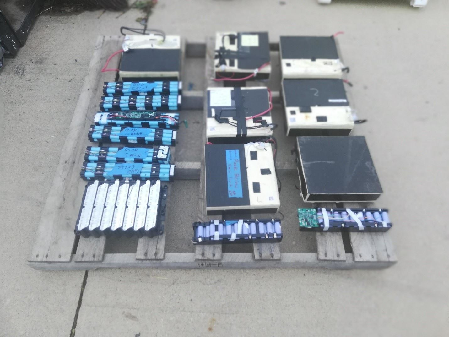 Picture of batteries in a serial configuration